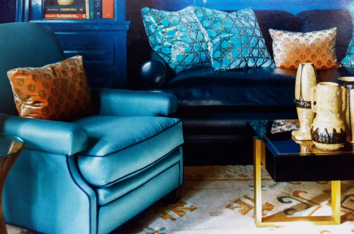 EYE CATCHING HAND PRINTED PILLOWS: ON LEFT, DELACROIX VELVET PRINTED WITH PETIT OEILLET MOTIF GILDED ON COLOR ONYX; VIVBRANT SOFA PILLOWS ARE TURNER SILK VELVET GRANADA MOTIF GILDED ON COLOR TOUTHANKOUMAN.   BOTH BY SABINA FAY BRAXTON.  THANK YOU STEVEN & TEAM! FURTHER INQUIRIES: HWANG.LAUREN@GMAIL.COM