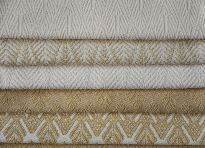 "CLASSIC TONES IN IVORY NATURALS & HONEY.... FROM TOP TO BOTTOM: BACI, PALM & XONE MOTIFS.  GREAT FOR UPHOLSTERY USE. WOVEN TO 53"" WIDE. FOR MORE INFO: HWANG.LAUREN@GMAIL.COM"