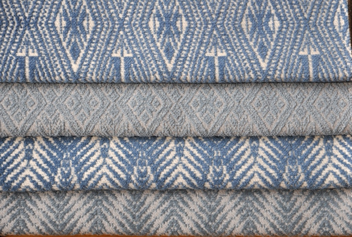 SHOWCASED HERE IN CLASSIC SHADES OF RESTFUL BLUES!  TOP TO BOTTOM: BACI, XONE, PALM, COTTOM CHENILLE SET ON COTTON WARP.  IDEAL FOR UPHOLSTERY.  VERY HANDSOME COLLECTION! FOR MORE INFO: HWANG.LAUREN@GMAIL.COM